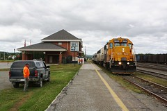 Northlander Station Stop (Joseph Bishop) Tags: ont 1800 emd gp382 englehart ontarionorthland t trains train track tracks railfan railroad railway rail rails
