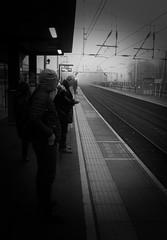 Waiting for the 08:10 (rwbthatisme) Tags: train harpenden station commute street black white monochrome mist fujifilm x100f