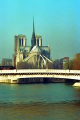 Paris Winter 1992 no. 3 (Carl Campbell) Tags: paris france modifiedphotograph manipulatedphotograph notredamedeparis bridge