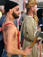 The Prince and the Hatched man (LarryJay99 ) Tags: westpalmbeach florida jaguar man men guy guys dude male studly manly dudes handsome people virile peekingpits peekingnipples peeking facialhair bearded mustasch jeans face shirtless hatchet costume halloween