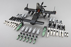 A-32 RAVEN - Light Attack Aircraft (Red Spacecat) Tags: lightattackaricraft redspacecat plane lego moc bomb missile rocket rocketpod cannons guns turboprop propellor airplane