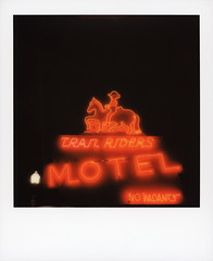 Trail Riders Neon 4 (tobysx70) Tags: polaroid originals color 600 instant film slr680 trail riders neon east agate avenue granby colorado co sign lit illuminated night nocturnal horse cowboy glow handheld red motel no vacancy street light polaradoone polarado 072118 toby hancock photography