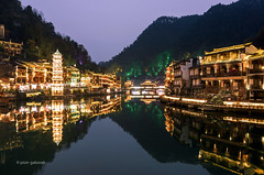 Fenghuang (pietkagab) Tags: fenghuang hunan china chinese asia asian east oldtown town water river hills mountains mountain buildings temple architecture reflection reflections evening night twilight sky house houses ancient old bridge pietkagab photography pentax pentaxk5ii piotrgaborek travel trip tourism sightseeing adventure
