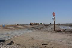 Westbound around a mud pot (Rail explorer) Tags: unionpacific nilandca imperialvalley mudpots yumasub sunsetroute
