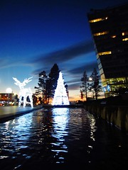 IMG_7577 (Gussyfinknottle) Tags: liverpool reflections reflection reindeer tree christmastree baum tenenbaum blue sky sunset dusk twilight building architecture city merseyside britain england outdoors beautiful water pond winter christmas weihnacht arbor