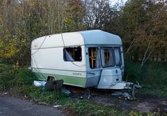 Rougham Hill, Dumped Caravan (Martin Pettitt) Tags: 2018 autumn burystedmunds dslr dumpedcaravan nikond7100 november outdoor path roughamhill suffolk trees uk