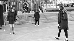 wizarding battle 03 (byronv2) Tags: edinburgh edimbourg blackandwhite blackwhite bw monochrome peoplewatching candid street bristosquare harrypotter fantasy books wizard wizards wizardbattle wand magicwand man woman