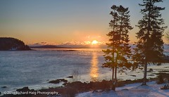Sun rise in Bar Harbor (RichHaig) Tags: acadianationalpark atlanticocean barharbor maine nikonafsnikkor2412014ged nikond850 richhaig sun sunrise clouds cold reflection snow trees water