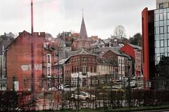 View of Chée de Louvain and Église de Bomel from the station, Namur, Belgium (Paul McClure DC) Tags: architecture belgium belgique wallonie wallonia feb2018 church namur namen ardennes historic railroad railway