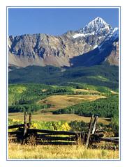 An Old Time Split Rail Fence in Colorado - 1991 (sjb4photos) Tags: colorado telluride coloradorockies epsonv500 autumn fence fencefriday hff wilsonpeak