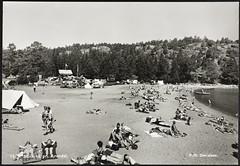Postkort fra Agder (Avtrykket) Tags: strand badende bil hus postkort sommer telt grimstad austagder norway nor