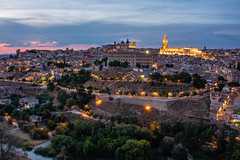 Panoramic view of Toledo (s_andreja) Tags: spain toledo city bluehour lights hill medieval alcazar panoramic