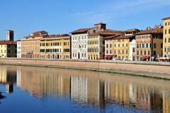 Pisa - Lungarno (ImaginOrlo) Tags: pisa toscana italy italia tuscany arno lungarno fiume river tramonto colore riflessi riflesso sunrise sonny sonnino sonnysonnino nikon nikond300