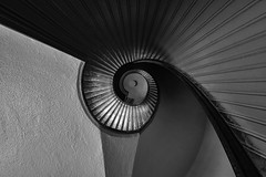 Lighthouse Spiral (FotoGrazio) Tags: lines nikon waynesgrazio curves shapes abstract buildings centered travelphotography staircase lovely texture stairs beautiful photomanipulation phototoart blacandwhite monochrome waynegrazio waynestevengrazio stairwell spiral architecture tonalrange fotograzio blackandwhite geometry surreal