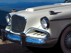 Golden Hawk (Colorado Sands) Tags: auto car vehicle white goldenhawk sandraleidholdt colorado usa american classic vintage automobile frontend grill headlight studabaker chrome