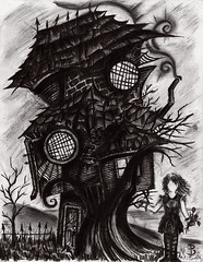 Misunderstood (Skyler Brown Art) Tags: abandoned angst architecture art artwork bw blackwhite blackandwhite charcoal creepy dark darkness depressing drawing female girl goth gothic graphite greyscale house ink macabre ominous paper pen pencil people smoke woman