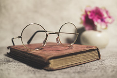 Book and Eyeglasses (N.the.Kudzu) Tags: tabletop stilllife old book eyeglasses vase flowers canoneosm 7artisans25mmf18 2lilowls lightroom preset