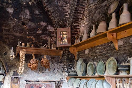 Küche in einem Meteora-Kloster, Thessalien