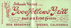 Goodfellow's Grill (jericl cat) Tags: matchbook matchbooks paper ephemera illustration vintage design johnnie voenes 1026 broadway fresno california goodfellows grill seafood sea food grotto restaurant lobster fish charicature