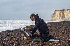 tom benjamin 1 (photoautomotive) Tags: newhaven eastsussex england uk europe englishchannel artist painting paint canvas sky sea beach stones stone cliffs seawater waves water brushes tombenjamin canon7d 1740l flash 7d