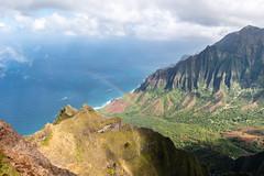 Kalalau Rainbow (Brady Withers) Tags: bradywithersphotography bwsterlingphotography canon70d canon canon1018mm wideangle sky hawaii kauai kalalau hiking rainbow clouds ocean mountains