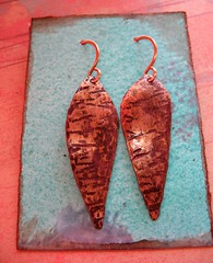 recycled brass patina leaves in opa brown patina 3 (msficklemedia) Tags: handforged artisanjewelry handcrafted earrings recycledmetal stone beads sterling silver missficklemedia