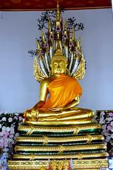 Buddha On Seven headed Serpent, Wat Pho, Bangkok. (Manoo Mistry) Tags: watpho buddhist buddha buddhism buddhisttemple bangkok thailand nikon nikond5500 tamron tamron18270mmzoomlens