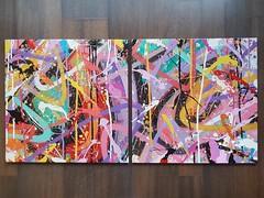"""Dans la série """"Dévoilons un peu les choses"""", voici la One!! En diptyque! 2 x 50 x 50 cm """"Chacun de nous est unique mais on déchire plus une fois réunis!!"""" - Lyvre de la Brousse - Anthropoworks Avec un 😉 pour celles et ceux qui regardent mes story """"De (bowsjfb) Tags: dirty gallerie art galleryart peinture dirt colorz abstract destroytocreate diptyque colorislife dirtstyle toile binome graffiti canva tag wildstyle letters creation"""
