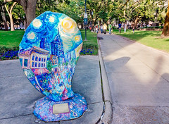 Painted oyster art exhibit in Mobile Alabama (CarmenSisson) Tags: bienvillesquare loda oystertrail us usa unitedstates art arttrail attraction colorful colourful communityart display fiberglass large lowerdauphinstreet monument offbeat outdoors outside oyster painted painting park publicart scavengerhunt statue tourism touristattraction treasurehunt mobile alabama