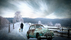 Winter Roads (jarr1520) Tags: winter snow sky clouds fence composite textured raod country woman dog vintage trees cold