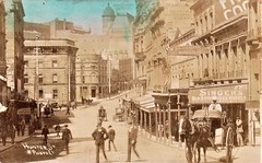 Hunter Street, Sydney, N.S.W. - very early 1900s (Aussie~mobs) Tags: hunterstreet sydney newsouthwales australia streetscape buggy vintage shops starphotocompany mossco cajohnston artclasses norwichunionfireoffice norwichchambers buildings tobacconist sulky telegraphpole taxi barber