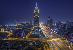 The Blues (Dany Eid) Tags: dubai uae sheikh zayed road bluehour cityscape landscape nightscape travel emirates lighttrails