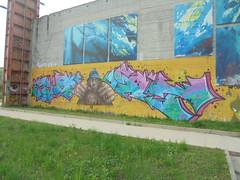 253 (en-ri) Tags: ga gost ltns crew latinos azzurro rosa uomo man wubik 50 torino wall muro graffiti writing arrow parco dora