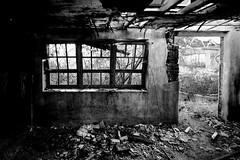 Far from any road. (a_radical_eye) Tags: desolation ruins urbex decay dark aradicaleye building window old bw blackandwhite monochrome roof fallen canon 1018mm eos 7d