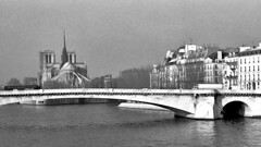 Paris Winter 1992 no. 6 (Carl Campbell) Tags: paris france modifiedphotograph manipulatedphotograph notredamedeparis bridge blackandwhite bw noiretblanc