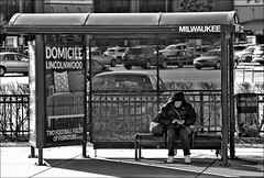 Occupied (raymondclarkeimages) Tags: 6d raymondclarkeimages rci 8one8studios google canon usa mono blackandwhite outdoor busstop people commute advertising 70200mm fullframe flickr milwaukee illinois street lincolnwood monochrome occupied shelter publictransportation
