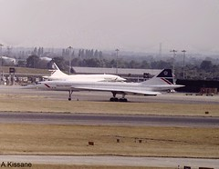BRITISH AIRWAYS CONCORDE G-BOAF (Adrian.Kissane) Tags: gboaf concorde lhr britishaw 1995 taxing airport plane aeroplane england
