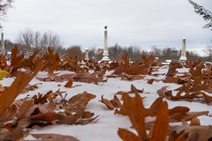 Fall and Winter Collide in the Cemetery (bill.d) Tags: kalamazoocounty michigan mountainhomecemetery us unitedstates autumn cemetery fall kalamazoo outdoor overcast snow winter