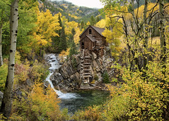 crystal mill colorado fall colors (Dan Anderson.) Tags: oldmill crystal colorado co autumn fall leaves color historic landmark icon iconic rain rainy colors red yellow abandoned old mine mining ghosttown crystalriver river creek falls water waterfalls mountain fog picturesque landscape remote postcard photograph nationalregister historicplaces gunnison aspen mill crystalmill americanwest
