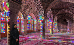 Nasir al-Mulk Mosque in Shiraz, Iran (D. Scott McLeod) Tags: nasiralmulkmosque pinkmosque shiraziran iran shiraz morninglight colors dscottmcleod scottmcleod sunlightrays stainedglass