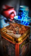Tea Tin Garden Zen (Glesga Geek) Tags: miniature tea tin reading person figure chinese moss garden zen