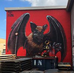 Flying Fox by Ivan Rogue (wiredforlego) Tags: red graffiti streetart urbanart aerosolart publicart mural bushwick brooklyn newyork nyc ivanrouke