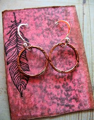 hand forged recycled copper and sterling small link earrings 1 (msficklemedia) Tags: handforged artisanjewelry handcrafted earrings recycledmetal stone beads sterling silver missficklemedia