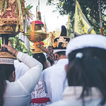 BALI, INDONESIA - JULY 4, 2018: Group of people on a balinese village ceremony. thumbnail
