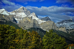 Mountain Glory, Banff National Park, Canada (louelke - on and off) Tags: banffnationalpark alberta canada mountains rockymountains trees clouds