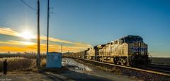 A Man and a Train (jimt31) Tags: trains railroad sunset up unionpacific coaltrain globaliii genevasub rochelleil