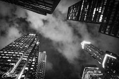 Look up! (corineouellet) Tags: pov hdr pointofview pointdevue travel cityscapes cityscene city newyorkcity newyork nyc architecture buildings lights night upintheair up sky cloudy clouds exposure composition blackandwhite bnw noiretblanc