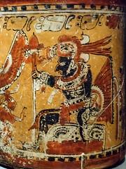 Closeup of Vase with warriors and captive, Chama style, Late Classic Maya, 600-800 CE Mexico. (mharrsch) Tags: maya vase warrior captive prisoner mexico deyoungmuseum sanfrancisco california mharrsch lateclassicperiod