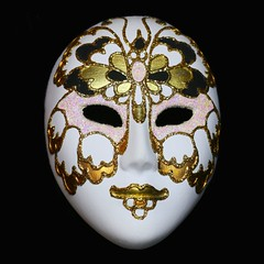 The Mask (HansHolt) Tags: mask maschera veneziana masker white ceramic gold texture carnival carnevale carnaval venezia italia venice italy venetië souvenir macro square canon 6d 100mm canoneos6d canonef100mmf28macrousm