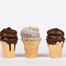 Waffle cups on white background